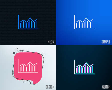 Glitch, Neon effect. Financial chart line icon. Economic graph sign. Stock exchange symbol. Business investment. Trendy flat geometric designs. Vector