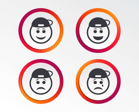 Rapper smile face icons. Happy, sad, cry signs. Happy smiley chat symbol. Sadness depression and crying signs. Infographic design buttons. Circle templates. Vector