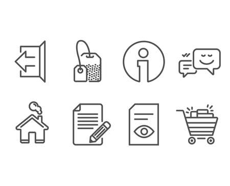 Set of View document, Happy emotion and Article icons. Sign out, Tea bag and Shopping cart signs. Open file, Web chat, Feedback. Logout, Brew hot drink, Gifts.  Information and Home design elements