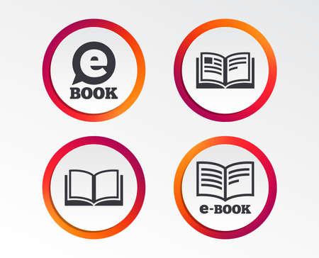Electronic book icons. E-Book symbols. Speech bubble sign. Infographic design buttons. Circle templates. Vector