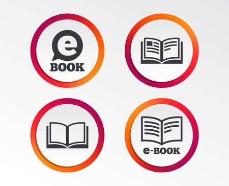 Electronic book icons. E-Book symbols. Speech bubble sign. Infographic design buttons. Circle templates. Vector Illustration