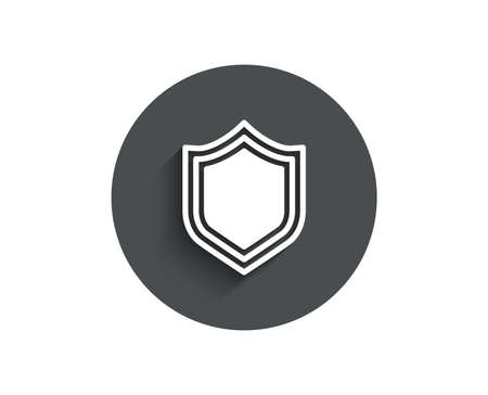 Shield simple icon. Protection or Security sign. Defence or Guard symbol. Circle flat button with shadow. Vector