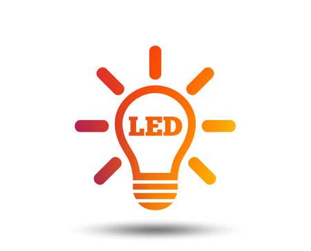 Led light lamp icon. Energy symbol. Blurred gradient design element. Vivid graphic flat icon. Vector