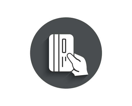 Credit card simple icon. Hold Banking Payment card sign. ATM service symbol. Circle flat button with shadow. Vector