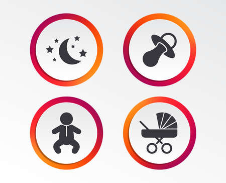 Moon and stars symbol. Baby infants icon. Buggy and dummy signs. Child pacifier and pram stroller. Infographic design buttons. Circle templates. Vector