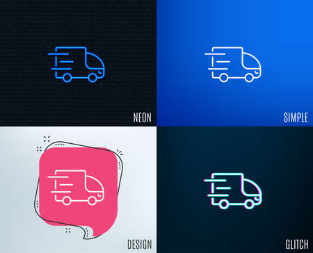 Glitch, Neon effect. Truck delivery line icon. Express service sign. Transportation symbol. Trendy flat geometric designs. Vector