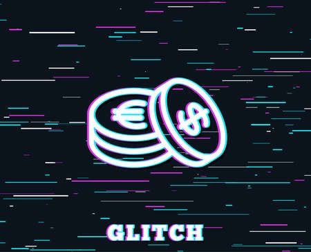 Glitch effect. Coins money line icon. Banking currency sign. Euro and Dollar Cash symbols. Background with colored lines. Vector
