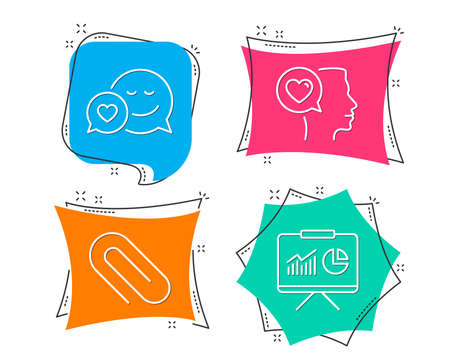 Set of Dating, Paper clip and Romantic talk icons. Presentation sign. Love messenger, Attach paperclip, Love chat. Board with charts.  Flat geometric colored tags. Vivid banners. Trendy graphic design Çizim