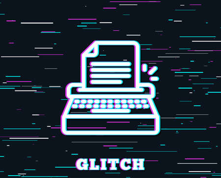 Glitch effect. Typewriter line icon. Copywriting sign. Writer machine symbol. Background with colored lines. Vector Illustration