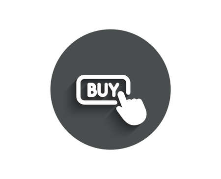 Click to Buy simple icon. Online Shopping sign. E-commerce processing symbol. Circle flat button with shadow. Vector Illustration