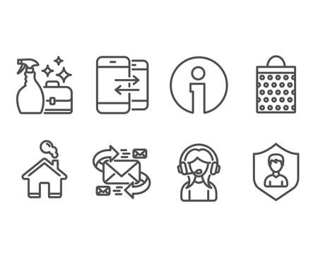 Set of E-mail, Cleanser spray and Shopping bag icons. Phone communication, Support and Security agency signs. Communication by letters, Washing liquid, Paper package. Vector Çizim