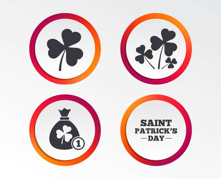 Saint Patrick day icons. Money bag with clover and coin sign. Trefoil shamrock clover. Symbol of good luck. Infographic design buttons. Circle templates. Vector Illustration