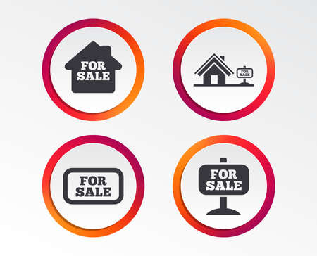 For sale icons. Real estate selling signs. Home house symbol. Infographic design buttons. Circle templates. Vector Çizim