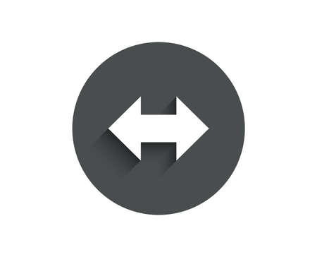 Sync arrows simple icon. Communication Arrowheads symbol. Navigation pointer sign. Circle flat button with shadow. Vector