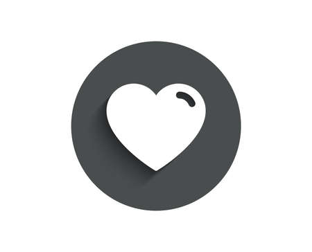 Heart simple icon. Love sign. Valentines Day sign symbol. Circle flat button with shadow. Vector Çizim