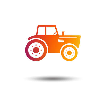 Tractor sign icon. Agricultural industry symbol. Blurred gradient design element. Vivid graphic flat icon. Vector Reklamní fotografie - 102437033