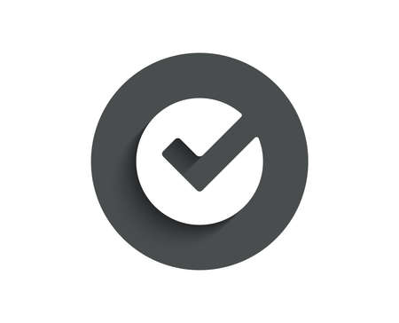 Check simple icon. Approved Tick sign. Confirm, Done or Accept symbol. Circle flat button with shadow. Vector