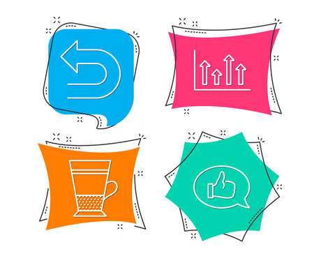 Set of Upper arrows, Undo and Double latte icons. Feedback sign. Growth infochart, Left turn, Tea cup. Speech bubble.  Flat geometric colored tags. Vivid banners. Trendy graphic design. Vector