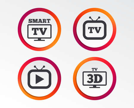 Smart 3D TV mode icon. Widescreen symbol. Retro television and TV table signs. Infographic design buttons. Circle templates. Vector