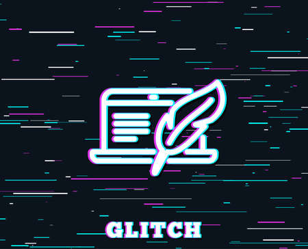 Glitch effect. Copywriting notebook line icon. Сopyright feather sign. Media content symbol. Background with colored lines. Vector