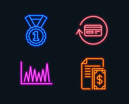 Neon lights. Set of Best rank, Line graph and Refund commission icons. Payment sign. Success medal, Market diagram, Cashback card. Cash money.  Glowing graphic designs. Vector