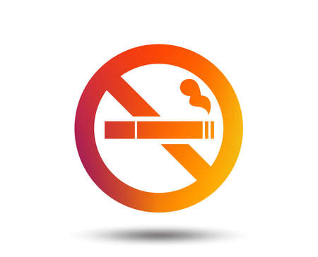No Smoking sign icon. Cigarette symbol. Blurred gradient design element. Vivid graphic flat icon. Vector