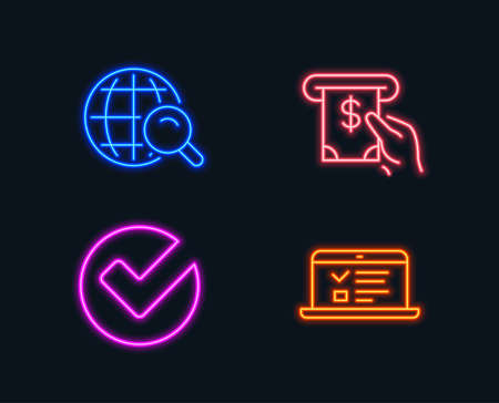 Neon lights. Set of Internet search, Verify and Atm service icons. Web lectures sign. Web finder, Selected choice, Cash investment. Online test.  Glowing graphic designs. Vector Illusztráció
