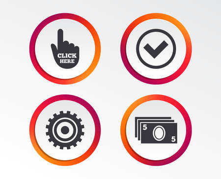 ATM cash machine withdrawal icons. Click here, check PIN number, processing and cash withdrawal symbols. Infographic design buttons. Circle templates. Vector
