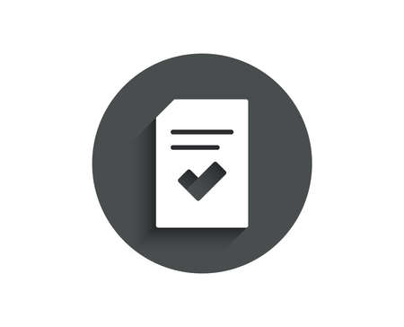 Checked Document simple icon. Information File with Check sign. Correct Paper page concept symbol. Circle flat button with shadow. Vector