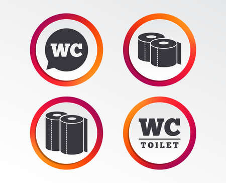 Toilet paper icons. Gents and ladies room signs. Paper towel or kitchen roll. Speech bubble symbol. Infographic design buttons. Circle templates. Vector