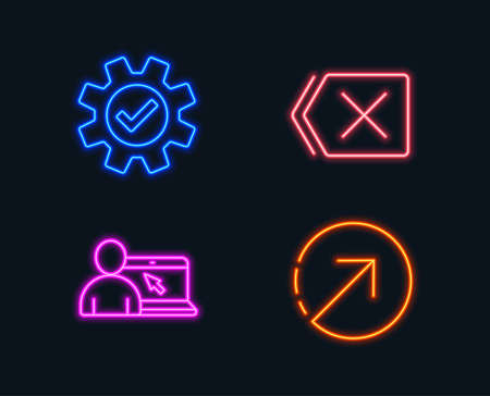 Neon lights. Set of Online education, Service and Remove icons. Direction sign. Internet lectures, Cogwheel gear, Delete button. Navigation pointer.  Glowing graphic designs. Vector Banque d'images - 102807032