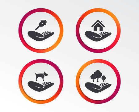 Helping hands icons. Shelter for dogs symbol. Home house or real estate and key signs. Save nature forest. Infographic design buttons. Circle templates. Vector