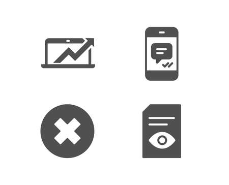 Set of Close button, Sales diagram and Message icons. View document sign. Delete or decline, Sale growth chart, Phone messenger. Open file.  Quality design elements. Classic style. Vector