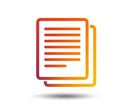 Copy file sign icon. Duplicate document symbol. Blurred gradient design element. Vivid graphic flat icon. Vector  イラスト・ベクター素材