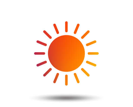 Sun icon. Sunlight summer symbol. Hot weather sign. Blurred gradient design element. Vivid graphic flat icon. Vector