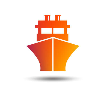Ship or boat sign icon. Shipping delivery symbol. Blurred gradient design element. Vivid graphic flat icon. Vector Illustration