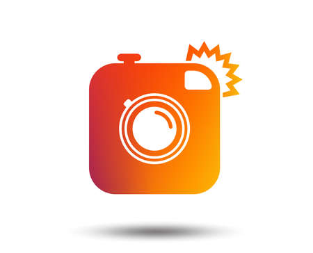 Hipster photo camera sign icon. Retro camera with flash symbol. Blurred gradient design element. Vivid graphic flat icon. Vector  イラスト・ベクター素材