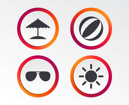 Beach holidays icons. Ball, umbrella and sunglasses signs. Summer sun symbol. Infographic design buttons. Circle templates. Vector Illustration