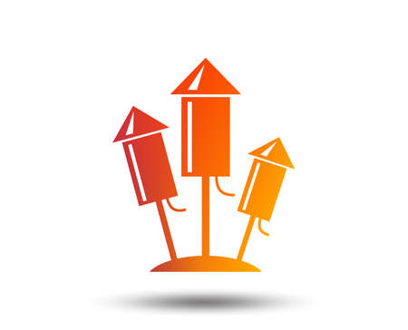 Fireworks rockets sign icon. Explosive pyrotechnic device symbol. Blurred gradient design element. Vivid graphic flat icon. Vector