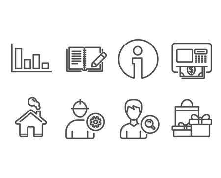 Set of Histogram, Search people and Engineer icons. Atm, Feedback and Shopping signs. Economic trend, Find profile, Worker with cogwheel. Money withdraw, Book with pencil, Holiday packages. Vector