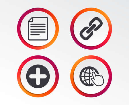 Plus add circle and hyperlink chain icons. Document file and globe with hand pointer sign symbols. Infographic design buttons. Circle templates. Vector