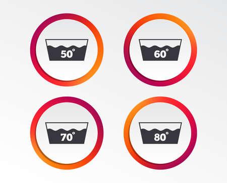 Symbole waschen. Maschinenwaschbar bei 50, 60, 70 und 80 Grad Symbolen. Wäschewaschhaus Zeichen. Infografik Design-Schaltflächen. Kreisvorlagen. Vektor