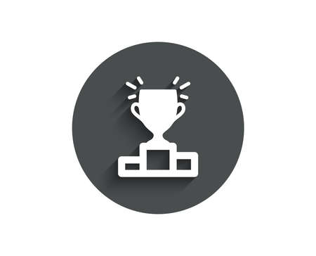 Winner podium simple icon. Sports Trophy symbol. Championship achievement sign. Circle flat button with shadow. Vector Illustration