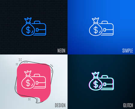 Glitch, Neon effect. Business case line icon. Portfolio and Salary symbol. Diplomat with Money bag sign. Trendy flat geometric designs. Vector Illustration