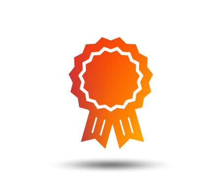 Award medal icon. Best guarantee symbol. Winner achievement sign. Blurred gradient design element. Vivid graphic flat icon. Vector