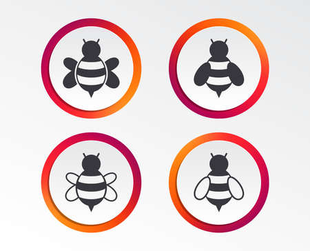 Honey bees icons. Bumblebees symbols. Flying insects with sting signs. Infographic design buttons. Circle templates. Vector