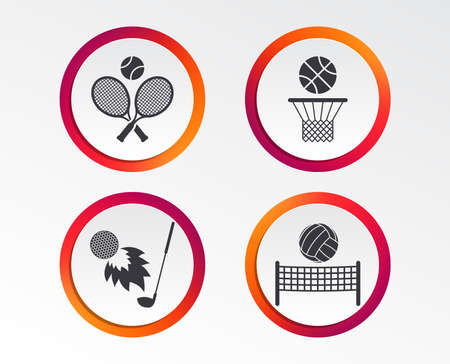 Tennis rackets with ball. Basketball basket. Volleyball net with ball. Golf fireball sign. Sport icons. Infographic design buttons. Circle templates. Vector