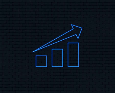 Neon light. Chart with arrow sign icon. Success diagram symbol. Statistics. Glowing graphic design. Brick wall. Vector