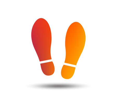Imprint soles shoes sign icon. Shoe print symbol. Blurred gradient design element. Vivid graphic flat icon. Vector