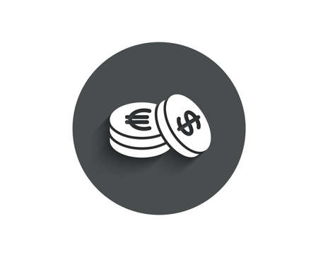 Coins money simple icon. Banking currency sign. Euro and Dollar Cash symbols. Circle flat button with shadow. Vector